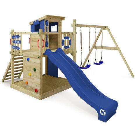 WICKEY Parque infantil de madera Smart Camp con columpio y tobogán azul, Casa de juegos de jardín con arenero y escalera para niños