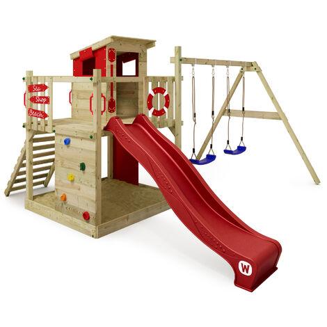 WICKEY Parque infantil de madera Smart Camp con columpio y tobogán rojo, Casa de juegos de jardín con arenero y escalera para niños