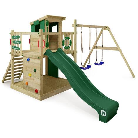 WICKEY Parque infantil de madera Smart Camp con columpio y tobogán verde, Casa de juegos de jardín con arenero y escalera para niños