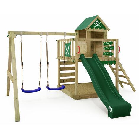 WICKEY Parque infantil de madera Smart Cave con columpio y tobogán verde, Casa de juegos de jardín con arenero y escalera para niños