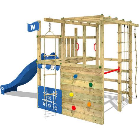 WICKEY Parque infantil de madera Smart Champ con tobogán azul área de juegos da exterior, Escalera Sueco con pared de escalada para niños