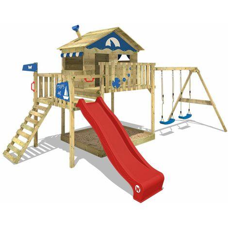 WICKEY Parque infantil de madera Smart Coast con columpio y tobogán rojo, Casa sobre pilares de exterior con arenero y escalera para niños