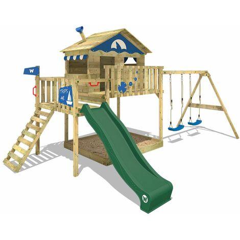 WICKEY Parque infantil de madera Smart Coast con columpio y tobogán verde, Casa sobre pilares de exterior con arenero y escalera para niños