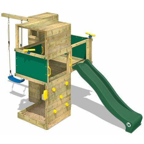 WICKEY Parque infantil de madera Smart Cube con columpio y tobogán verde área de juegos da exterior, Escalera Sueco con arenero y pared de escalada para niños