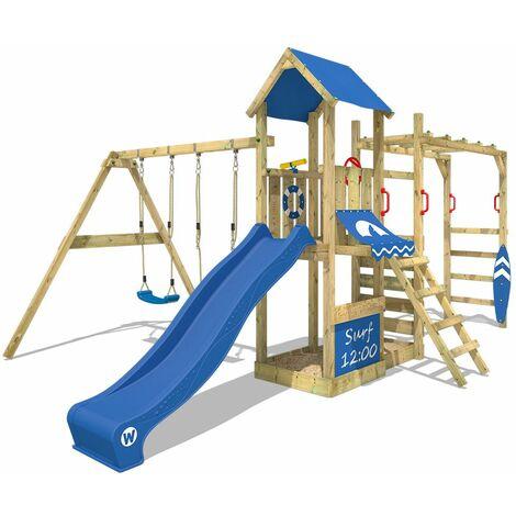 WICKEY Parque infantil de madera Smart Dock con columpio y tobogán azul área de juegos da exterior, Escalera Sueco con arenero y pared de escalada para niños