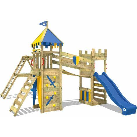 WICKEY Parque infantil de madera Smart Legend 120 con columpio y tobogán azul, Torre de escalada de exterior con arenero y escalera para niños
