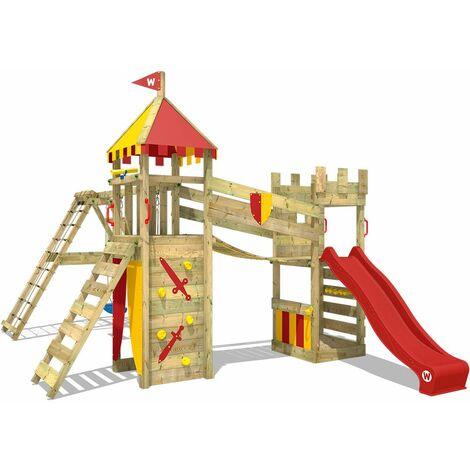 WICKEY Parque infantil de madera Smart Legend 120 con columpio y tobogán rojo Torre de escalada de exterior con arenero y escalera para niños