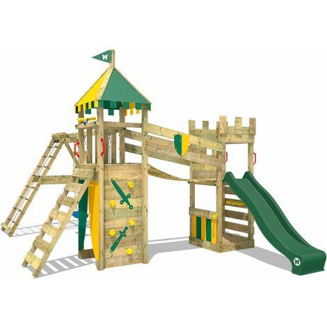 WICKEY Parque infantil de madera Smart Legend 120 con columpio y tobogán verde, Torre de escalada de exterior con arenero y escalera para niños