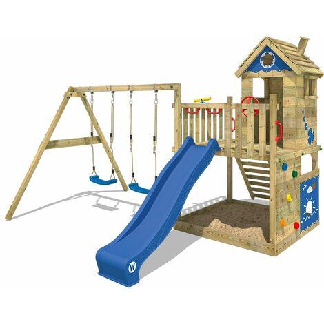 WICKEY Parque infantil de madera Smart Lodge 120 con columpio y tobogán azul, Casa de juegos de jardín con arenero y escalera para niños