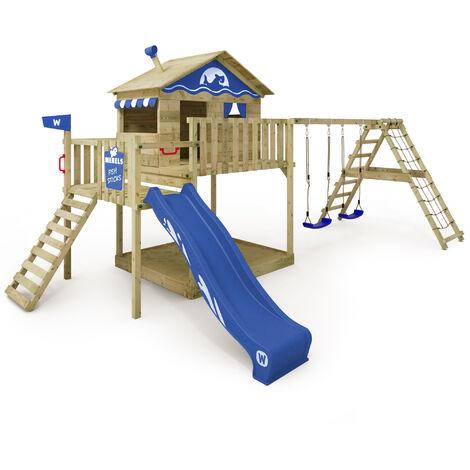 WICKEY Parque infantil de madera Smart Ocean con columpio y tobogán azul Casa sobre pilares de exterior con arenero y escalera para niños