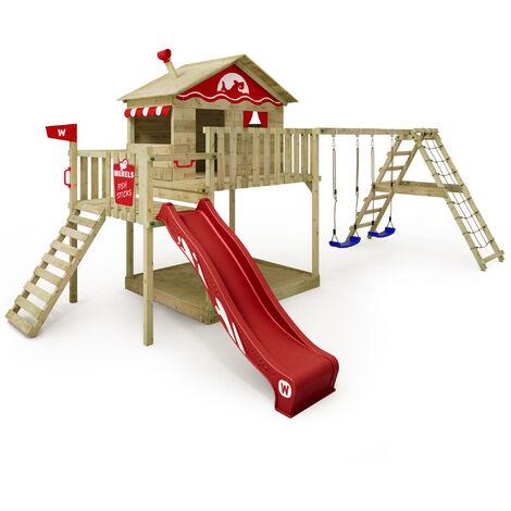 WICKEY Parque infantil de madera Smart Ocean con columpio y tobogán rojo Casa sobre pilares de exterior con arenero y escalera para niños