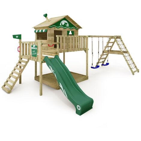 WICKEY Parque infantil de madera Smart Ocean con columpio y tobogán verde Casa sobre pilares de exterior con arenero y escalera para niños