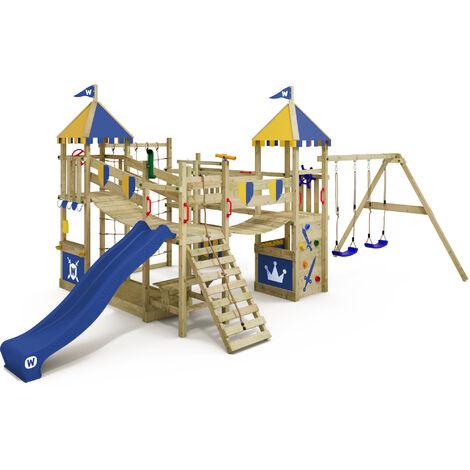 WICKEY Parque infantil de madera Smart Queen con columpio y tobogán azul, Torre de escalada de exterior con arenero y escalera para niños