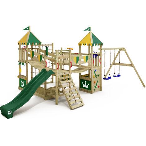 WICKEY Parque infantil de madera Smart Queen con columpio y tobogán verde, Torre de escalada de exterior con arenero y escalera para niños