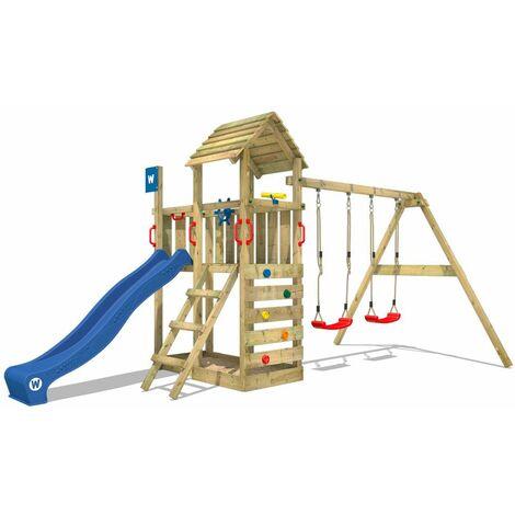 WICKEY Parque infantil de madera Smart Rival con columpio y tobogán azul Torre de escalada de exterior con arenero y escalera para niños