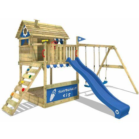 WICKEY Parque infantil de madera Smart Seaside con columpio y tobogán azul, Casa sobre pilares de exterior con arenero y escalera para niños