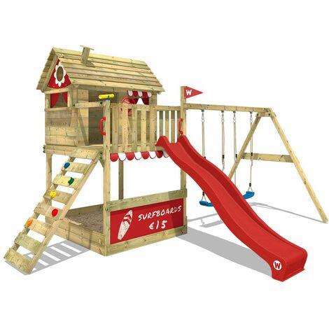 WICKEY Parque infantil de madera Smart Seaside con columpio y tobogán rojo, Casa sobre pilares de exterior con arenero y escalera para niños