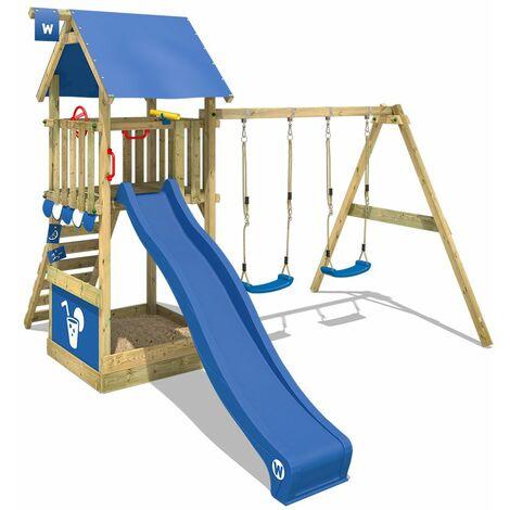 WICKEY Parque infantil de madera Smart Shelter con columpio y tobogán azul, Torre de escalada de exterior con arenero y escalera para niños