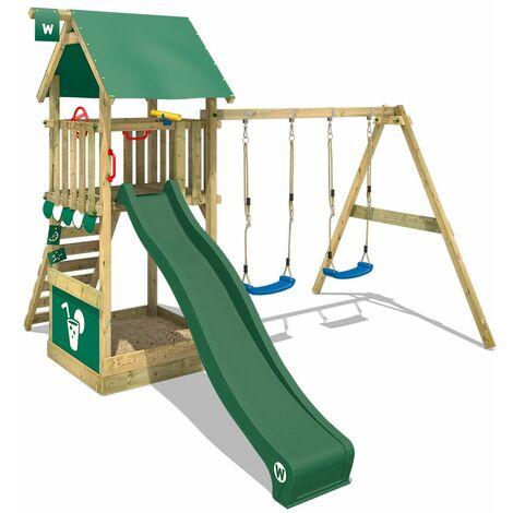 WICKEY Parque infantil de madera Smart Shelter con columpio y tobogán verde Torre de escalada de exterior con arenero y escalera para niños
