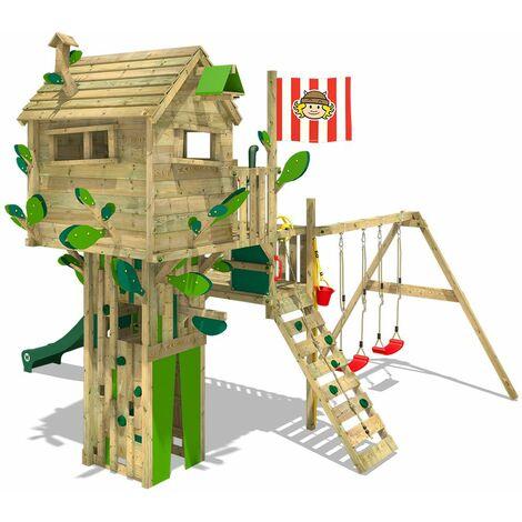 WICKEY Parque infantil de madera Smart Shop con columpio y tobogán rojo, Torre de escalada de exterior con arenero y escalera para niños