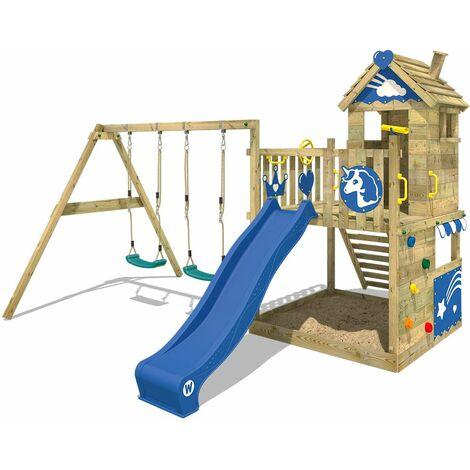 WICKEY Parque infantil de madera Smart Sparkle con columpio y tobogán azul Casa de juegos de jardín con arenero y escalera para niños