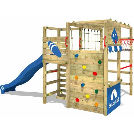 WICKEY Parque infantil de madera Smart Tactic con tobogán azul área de juegos da exterior, Escalera Sueco con pared de escalada para niños