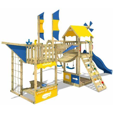 WICKEY Parque infantil de madera Smart Tower con tobogán verde, Torre de escalada de exterior con arenero y escalera para niños
