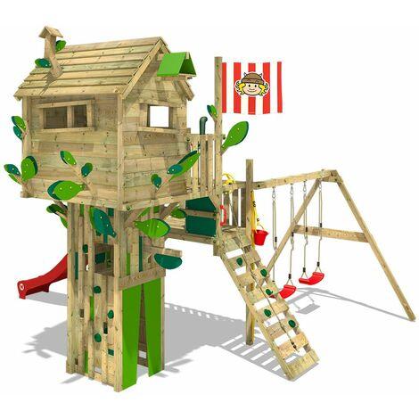 WICKEY Parque infantil de madera Smart Treetop con columpio y tobogán rojo, Torre de escalada de exterior con arenero y escalera para niños