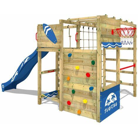 WICKEY Parque infantil de madera Smart Victory con tobogán azul, Área de juegos da exterior, Escalera Sueco con pared de escalada para niños