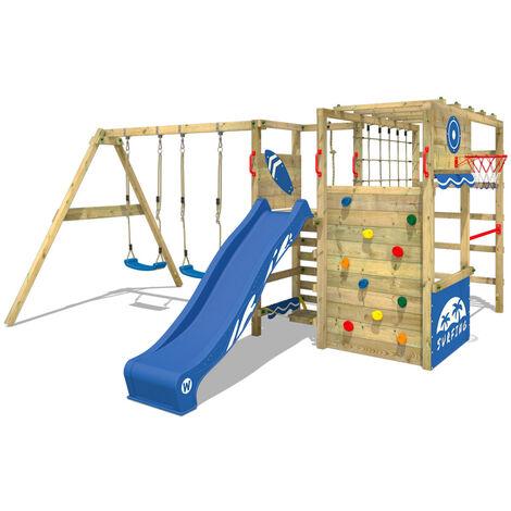 WICKEY Parque infantil de madera Smart Zone con columpio y tobogán azul, Área de juegos da exterior, Escalera Sueco con pared de escalada para niños