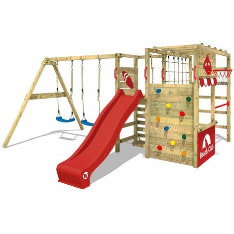 WICKEY Parque infantil de madera Smart Zone con columpio y tobogán rojo área de juegos da exterior, Escalera Sueco con pared de escalada para niños