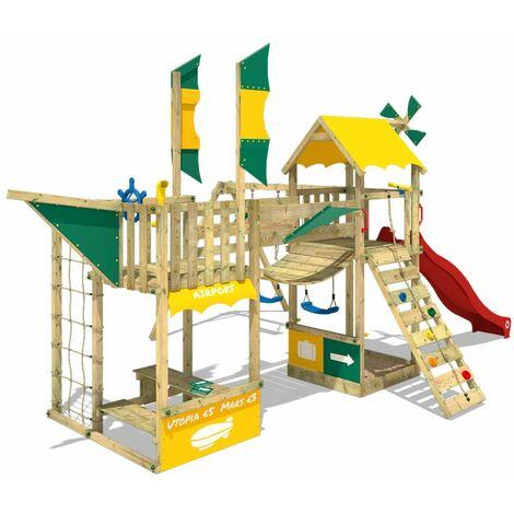WICKEY Parque infantil de madera SmartWing con columpio y tobogán, Casa de juegos de jardin con arenero y escalera para niños