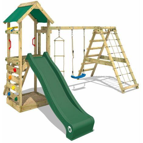 WICKEY Parque infantil de madera StarFlyer con columpio y tobogán verde Torre de escalada de exterior con arenero y escalera para niños