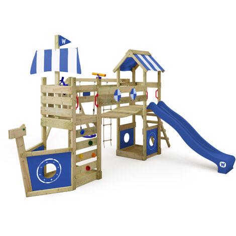 WICKEY Parque infantil de madera StormFlyer con columpio y tobogán azul Casa de juegos de jardín con arenero y escalera para niños