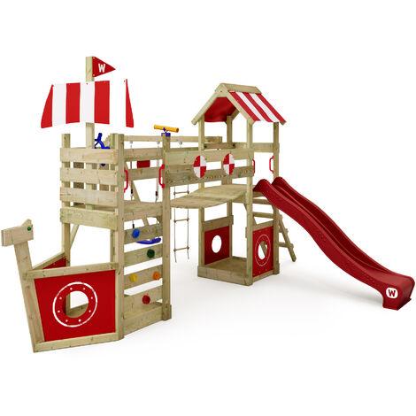 WICKEY Parque infantil de madera StormFlyer con columpio y tobogán rojo Casa de juegos de jardín con arenero y escalera para niños