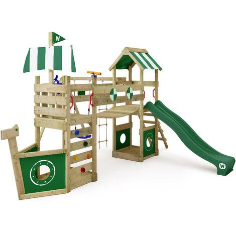 WICKEY Parque infantil de madera Stormflyer con columpio y tobogán rojo, Torre de escalada de exterior con arenero y escalera para niños