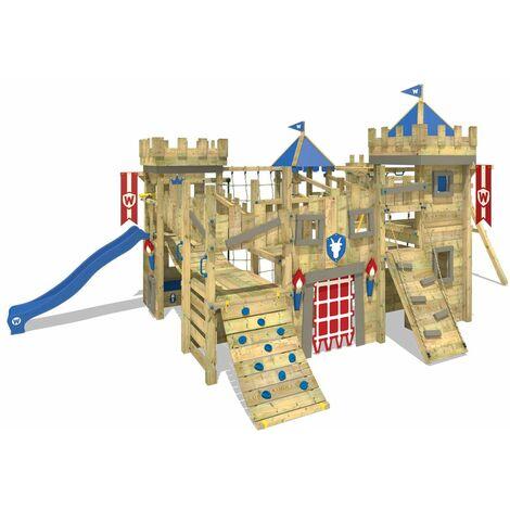 WICKEY Parque infantil de madera The Golden Goat con columpio y tobogán azul Torre de escalada de exterior con arenero y escalera para niños