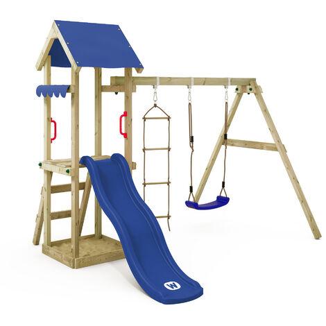 WICKEY Parque infantil de madera TinyCabin con columpio y tobogán azul, Torre de escalada de exterior con arenero y escalera para niños