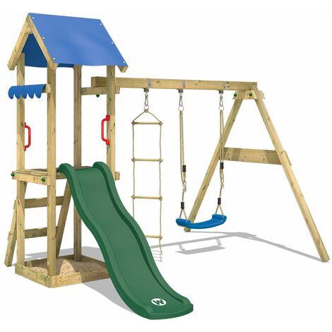 WICKEY Parque infantil de madera TinyCabin con columpio y tobogán verde, Torre de escalada de exterior con arenero y escalera para niños