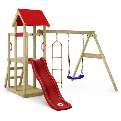 WICKEY Parque infantil de madera TinyPlace con columpio y tobogán rojo, Torre de escalada de exterior con arenero y escalera para niños