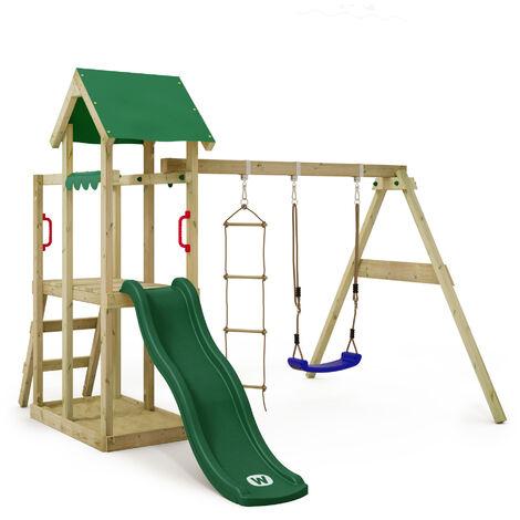 WICKEY Parque infantil de madera TinyPlace con columpio y tobogán verde, Torre de escalada de exterior con arenero y escalera para niños
