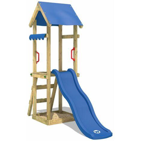 WICKEY Parque infantil de madera TinySpot azul, Torre de escalada de exterior con arenero y escalera para niños