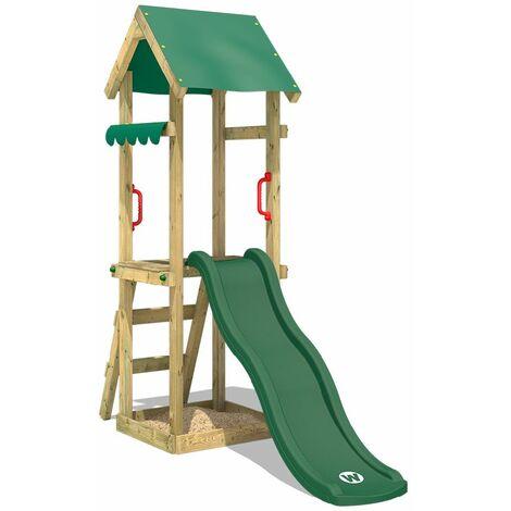 WICKEY Parque infantil de madera TinySpot verde Torre de escalada de exterior con arenero y escalera para niños