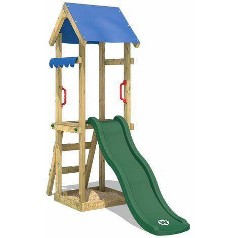 WICKEY Parque infantil de madera TinySpot verde, Torre de escalada de exterior con arenero y escalera para niños