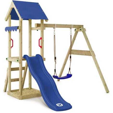 WICKEY Parque infantil de madera TinyWave con columpio y tobogán azul, Torre de escalada de exterior con arenero y escalera para niños