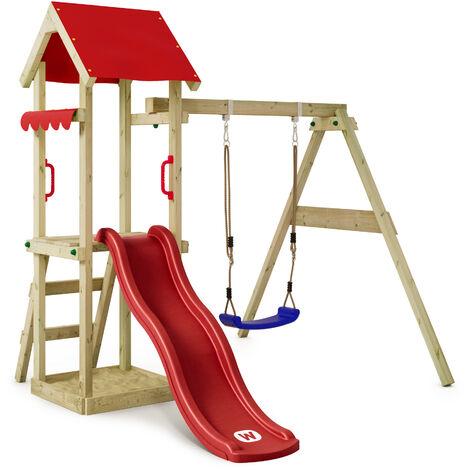 WICKEY Parque infantil de madera TinyWave con columpio y tobogán rojo Torre de escalada de exterior con arenero y escalera para niños