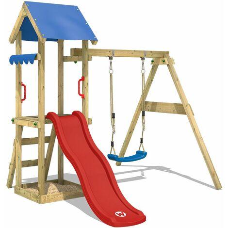 WICKEY Parque infantil de madera TinyWave con columpio y tobogán rojo, Torre de escalada de exterior con arenero y escalera para niños