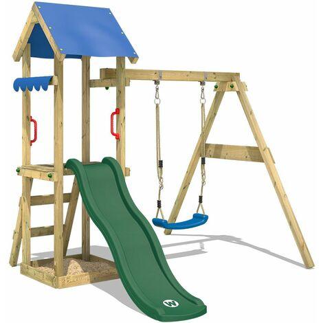 WICKEY Parque infantil de madera TinyWave con columpio y tobogán verde, Torre de escalada de exterior con arenero y escalera para niños