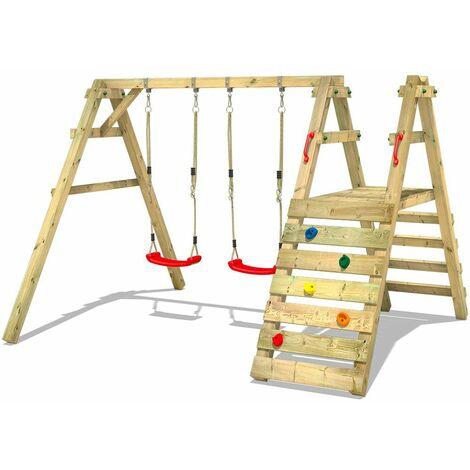 WICKEY Portique balançoire Aire de jeux Sky Runner Prime avec Portique bois pour enfants