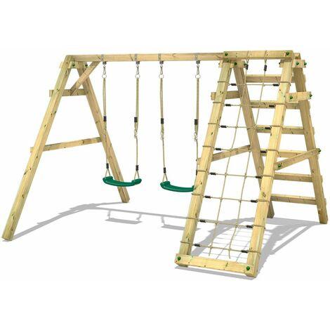 WICKEY Portique balançoire Aire de jeux Sky Skipper Prime avec Portique bois pour enfants